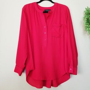 Lane Bryant | Red Exposed Stitch Henley Blouse